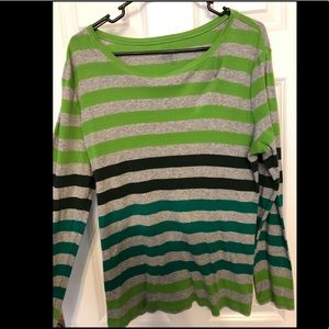 Grey black and green striped shirt